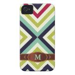 Modelo retro colorido del monograma de la raya Case-Mate iPhone 4 coberturas