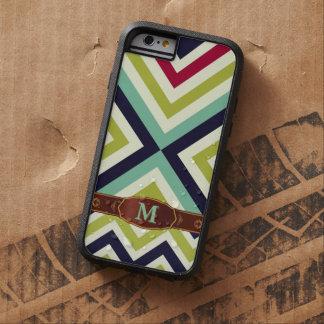 Modelo retro colorido del monograma de la raya funda de iPhone 6 tough xtreme