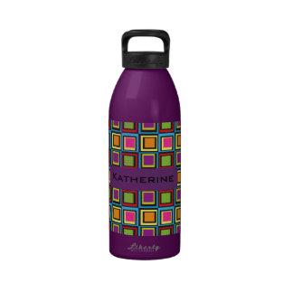 modelo retro de 32 cuadrados coloridos maravilloso botella de beber