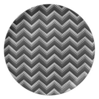 Modelo retro de Chevron del zigzag de la placa Platos De Comidas