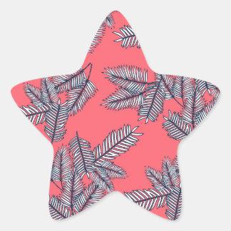 Modelo retro de la playa de la palma pegatina en forma de estrella
