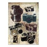 Modelo retro de las cámaras del Grunge del vintage Invitación 12,7 X 17,8 Cm