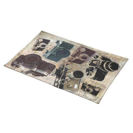 Modelo retro de las cámaras del Grunge del vintage Manteles
