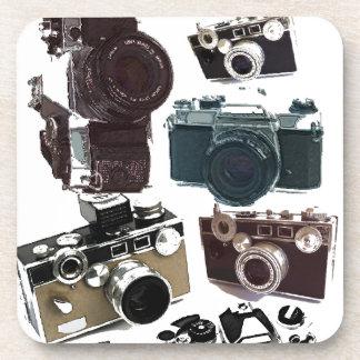 Modelo retro de las cámaras del Grunge del vintage Posavasos De Bebidas