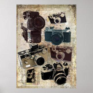Modelo retro de las cámaras del Grunge del vintage Póster