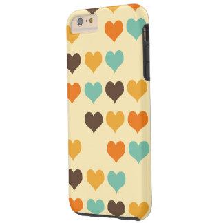 Modelo retro de los corazones de los colores funda para iPhone 6 plus tough