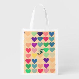 Modelo retro de los corazones del multicolor del bolsa reutilizable