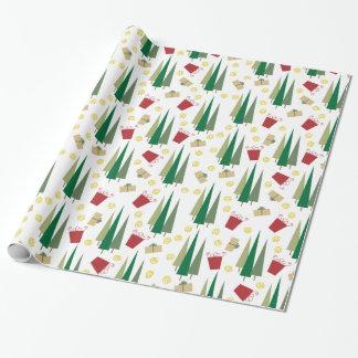 Modelo retro del árbol de navidad y de los regalos papel de regalo