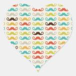 Modelo retro del bigote colcomanias corazon personalizadas