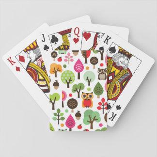 modelo retro del búho del árbol rosado de la hoja barajas de cartas