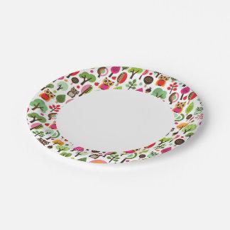 modelo retro del búho del árbol rosado de la hoja plato de papel de 7 pulgadas