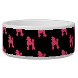 Modelo retro del caniche - rosa y negro tazón para perro
