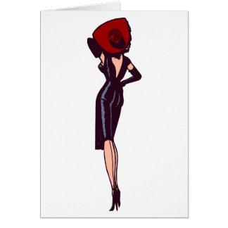 Modelo retro del chica magnífico del encanto del tarjeta de felicitación