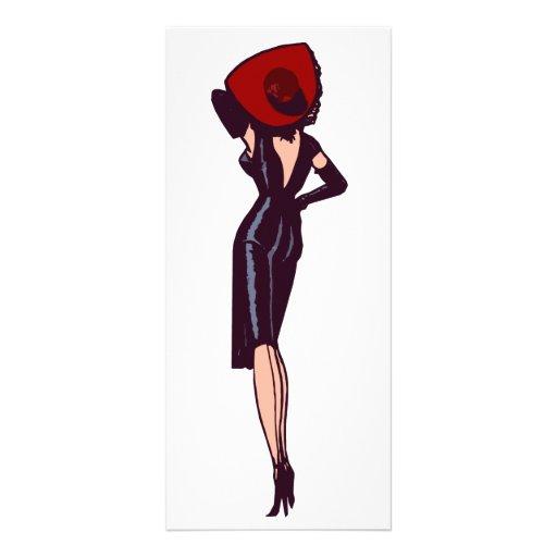 Modelo retro del chica magnífico del encanto del v tarjeta publicitaria a todo color