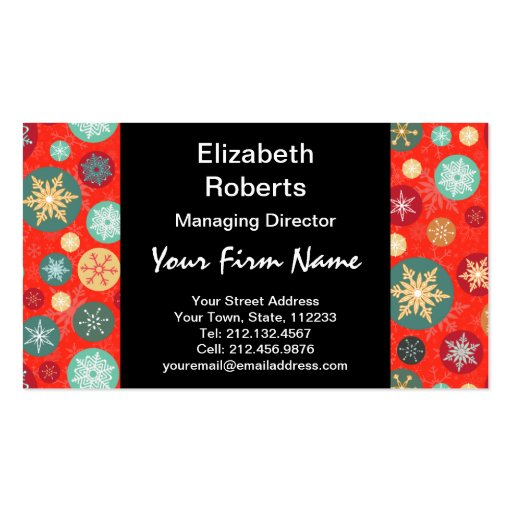 Modelo retro del copo de nieve rojo elegante del tarjetas de visita