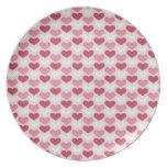 Modelo retro del corazón del el día de San Valentí Platos Para Fiestas