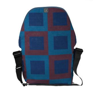Modelo retro del cuadrado del estilo en rojo y azu bolsa de mensajería
