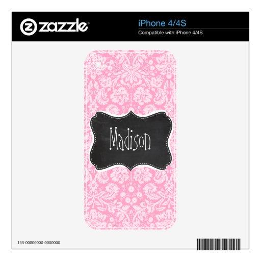 Modelo retro del damasco del rosa del clavel de la skins para eliPhone 4