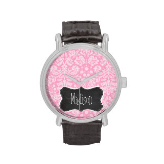 Modelo retro del damasco del rosa del clavel de la relojes de mano