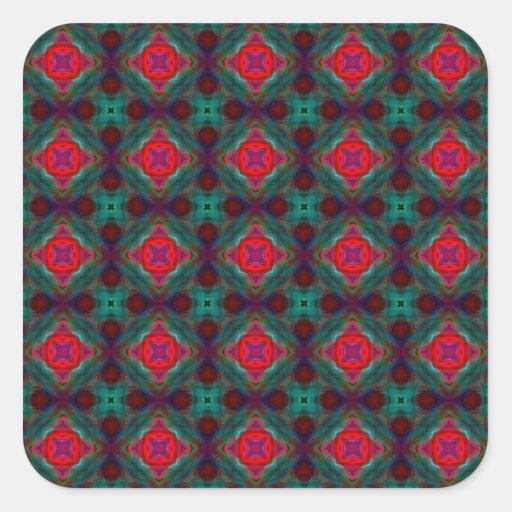 Modelo retro del fractal del rosa y del verde pegatinas cuadradases personalizadas