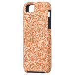 Modelo retro del naranja y blanco de Paisley iPhone 5 Case-Mate Carcasa
