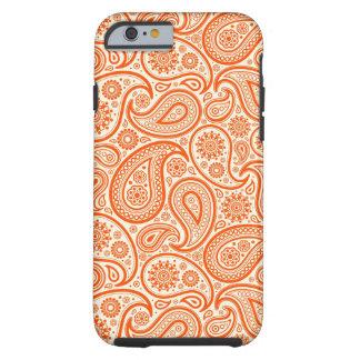 Modelo retro del naranja y blanco de Paisley Funda De iPhone 6 Tough