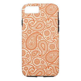 Modelo retro del naranja y blanco de Paisley Funda iPhone 7