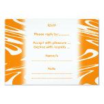 Modelo retro del naranja y blanco invitación 8,9 x 12,7 cm