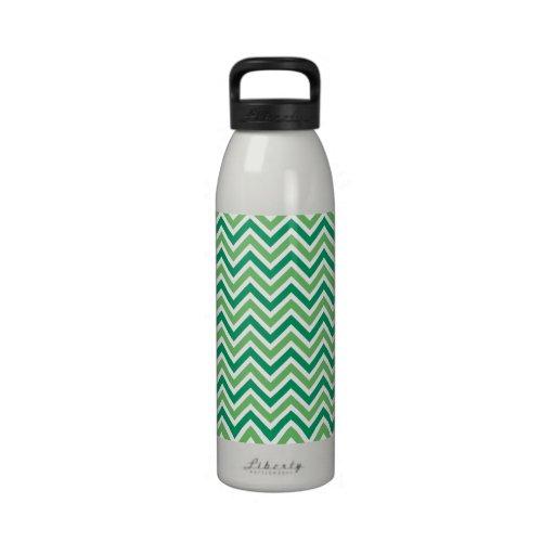 Modelo retro del zigzag verde de los galones, rega botella de agua reutilizable