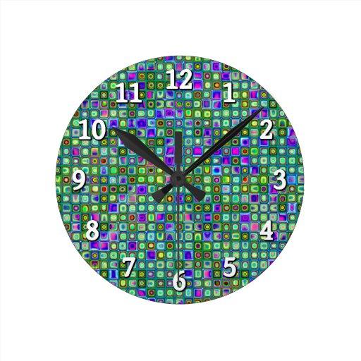 Modelo retro enrrollado del verde, azul y púrpura  reloj de pared