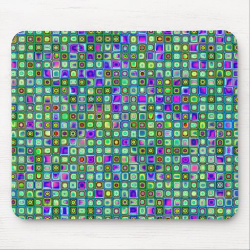 Modelo retro enrrollado del verde, azul y púrpura  tapete de ratones