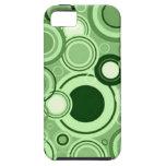 Modelo retro enrrollado verde de los círculos iPhone 5 protectores