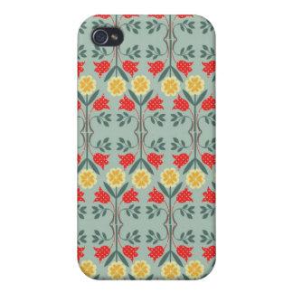 Modelo retro floral del inconformista del fairisle iPhone 4/4S carcasa