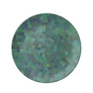 Modelo retro geométrico verde de la malaquita platos de cerámica