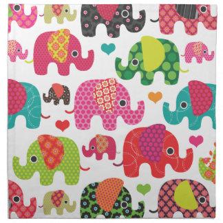 Modelo retro lindo del elefante de la India Servilletas Imprimidas