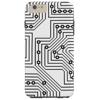 Modelo retro negro moderno de la placa de circuito funda de iPhone 6 plus tough