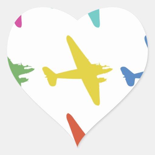 Modelo retro punky del aeroplano del vintage pegatina en forma de corazón