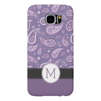Modelo retro púrpura de Paisley del monograma Fundas Samsung Galaxy S6