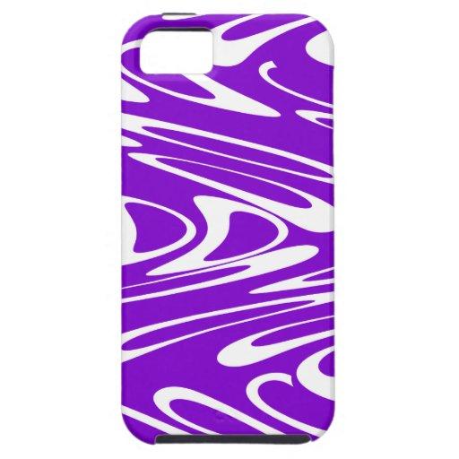 Modelo retro púrpura y blanco iPhone 5 carcasas