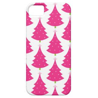 Modelo retro rosado bonito del árbol de navidad iPhone 5 carcasa