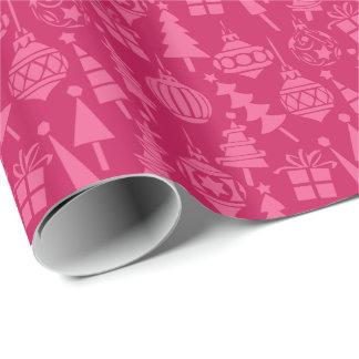 Modelo retro rosado del navidad papel de regalo