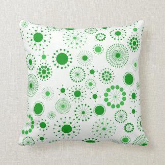Modelo retro verde y blanco de los círculos cojines