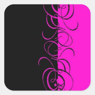 Modelo reverso negro rosado del remolino pegatina cuadrada
