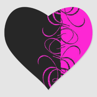 Modelo reverso negro rosado del remolino pegatina en forma de corazón