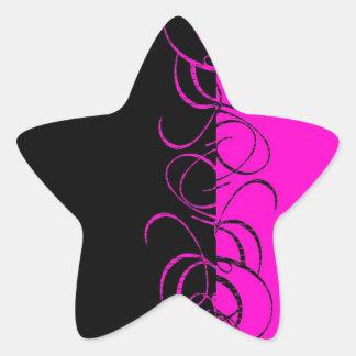 Modelo reverso negro rosado del remolino pegatina en forma de estrella