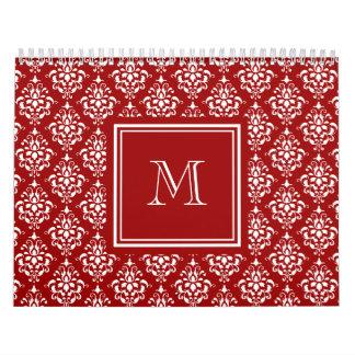 Modelo rojo 1 del damasco con el monograma calendarios