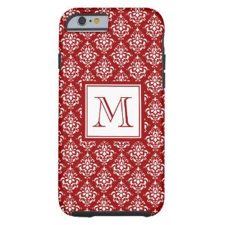 Modelo rojo 1 del damasco con el monograma funda de iPhone 6 tough