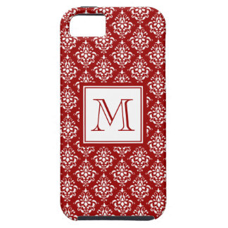 Modelo rojo 1 del damasco con el monograma iPhone 5 Case-Mate protector
