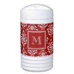 Modelo rojo 1 del damasco con el monograma vaso enfriador igloo