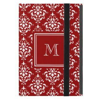 Modelo rojo 1 del damasco con el monograma iPad mini cárcasa